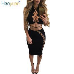 9eb59fec5e5 2017 New Spring Summer Bodycon Bandage Dress Black Hollow Out Two Piece Set  Sexy Dresses Party Night Club Dress Vestidos 17301