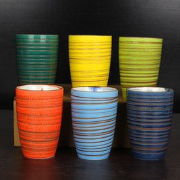 Uses Ceramics Canada - Colourful Ceramics Cup Creatively Streaked Cups Cylindrical Mug No Handle Tumbler Handmade Mugs Used For Office A Living Room 14sd A