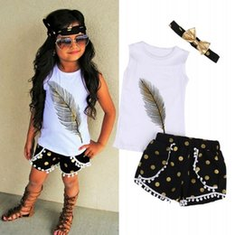 $enCountryForm.capitalKeyWord NZ - 3pcs Set Toddler Kids Baby Girl Floral Clothes Feather print Vest Tops T-shirts + Tassels Dot Lace Shorts Pants+Gold Bow Headband Outfits