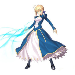 Chinese  Malidaike Anime Fate Stay Night Holy Grail Blue War Saber Cosplay Costume Halloween Party Suit manufacturers