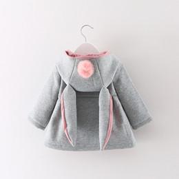 d773c12fe7430 Girl Coat Cute Rabbit Ear Hoodies Autumn Winter Warm Kids Jacket Outerwear  Children Clothing Baby Tops 3 Colors