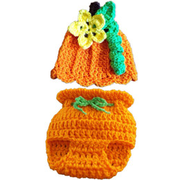 China Crochet Baby Pumpkin Set,Handmade Knit Baby Boy Girl Pumpkin Hat Diaper Cover Set,Infant Outfit Halloween Costume,Newborn Toddler Photo Prop suppliers