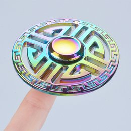Motif D'emballage Pas Cher-Round Chinese Style Pattern Novel Fidget Spinners Rainbow Metal Hand Spinner EDC Toys Metal Box Packing