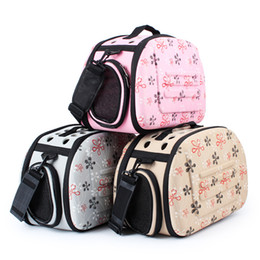 Folding Dog Carrier Canada - 2017 Pet Travel Bag Dog Travel Folding Breathable One Shoulder Out Bags Portable Luggage Backpack Cat Pack Pet Carriers and Bag-Cream Color