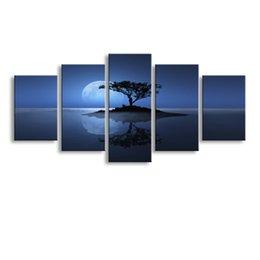 tree painting living room UK - 5 Panel tree Painting Canvas Wall Art Picture Home Decoration Living Room Canvas Print Modern Painting--Large Canvas Art Cheap SD-015