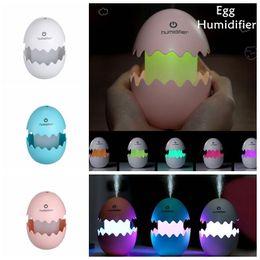 egg humidifier 2019 - USB Mini Egg Humidifier With Colorful LED Light Portable Egg Tumbler Aroma Diffuser Auto Shut-off Cool Humidifier for Ho