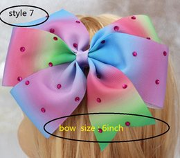 hair papers Canada - 8style available 8inch JoJo Siwa Large Green Sequin Signature Hair Bow Dance Cheerleader Pageant 24pcs no paper card