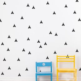 $enCountryForm.capitalKeyWord Canada - 54 pieces lot Nursery Decor Cartoon Teepee Wall Stickers for Kids Black Gold Silver Removable Waterproof Tents Wall Decals Room Accessories