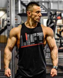 Venta al por mayor de Mens Lift Letter Print algodón Tank Tops aeróbicos ropa masculina Active Workout Tops sin mangas Sports Gym chalecos camiseta
