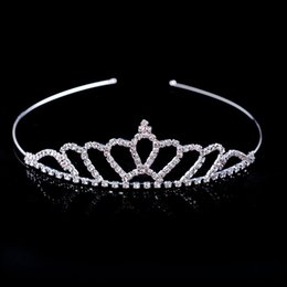 Hot Sale Beautiful Shiny Crystal Bridal Tiara Party Pageant Silver Plated Crown Hairband Acessórios de casamento baratos 2017