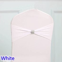 White Wedding Chairs For Sale Australia - White colour tie bands Lycra sash chair sash Bow tie ribbon For Wedding Party Banquet Decoration for sale with shiny belt