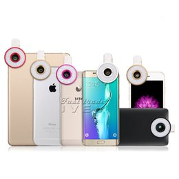 Wholesale 2017 NEW in1 Universal Clipon Selfie Multi LED Light Fish eye Lens Kit Mobile Phone Lens for iPhone Plus for Samsung with Retail Box