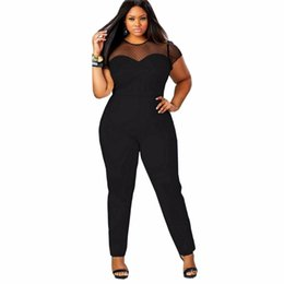 Combinaison Manches Longues Pas Cher-Vente en gros- FK1518 Femmes plus Maillots de taille Short Sleeve O neck Transparent Mesh Patchwork Slim Waist Long Pencil Pantalons Rompers Hot Selling