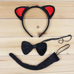 Ensemble De Queue D'oreille De Chat Pas Cher-Cute Cat Animal Ear Headband Bow Tie Tail 3pcs Set Cosplay Costume Accessoires Halloween Birthday Party Dress Supplies