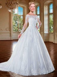 2017 Sexy Illusion Off Shoulder A Line Sheer Beaded Lace Fluffy Button Long Sleeve Wedding Gowns Princess Ball Gown Dresses