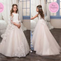 dresses detachable cape 2019 - Cute Princess Girls Formal Wear Gowns Cheap Flower Girls Dresses A Line Jewel Neck Appliques with Detachable Cape Kids P