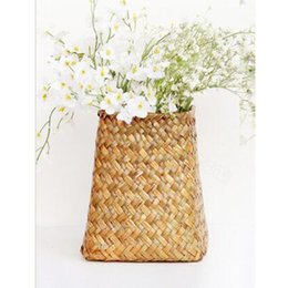 Discount artificial straw - handwork Straw Collection Basket Flower Basket Willow Set Vase