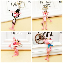 panther chain Australia - Pink Panther Keyring Key Buckle Cute Key Chains Pendant Vinyl Doll Key Ring Figures Collection 500pcs OOA3312