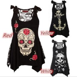 Barato Sexy See Tops-Mulheres Moda Cool Skull Print Gótico Vest Loose Lace Patchwork Sexy See Through Casual mangas Tops S - 5XL TOP1882