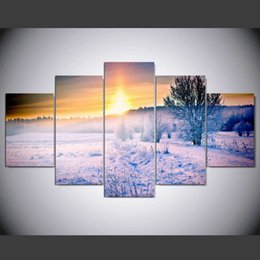 Chinese  5 Piece Frameless Winter Snow Landscape oil painting Modern Home decoration Wall Art Group paintings for Drawing room manufacturers