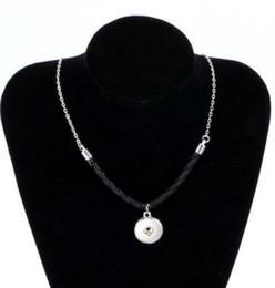 Ingrosso In pelle misto vintage argento 18mm pulsante Snap collane ciondolo dichiarazione choker designer collana donne gioielli fai da te amicizia regalo