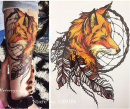 Discount fox tattoo - Wholesale- 2016 21 X 15 CM Yellow Fox and Feather Cool Beauty Tattoo Waterproof Hot Temporary Tattoo Stickers
