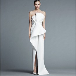 Unique Strapless White Evening Gown Floor Length Fashion With Pleats Middle Split Women Formal Evening Dresses from bud lights suppliers