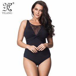 Barato Maiô Sexy Com Maiô-Wholesale- Brand Swimwear Mulheres 2016 One Piece Black Sexy Lace Hollow Out Swimsuit One Piece Thong Push Up Swimwear Plus Size 6XL Monokini