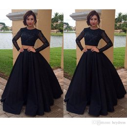 Wholesale Long Sleeve TWO Piece Prom Dresses Modest Beaded Special Occasion Party Dress A Line Vestido De Elegant Long Evening Dresses