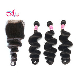 Chinese  New Style Grade 7A Brazilian Indian Malaysian Peruvian Human Hair 3Bundles Loose Wave Hair Weave with a Free Middle part Lace Closure manufacturers