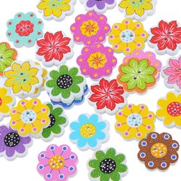 Wooden Button Scrapbook Canada - 50PCs Wholesale Natural Wooden Buttons Colorful Mixed Flowers Wave Edge Scrapbook Sewing Accessories DIY Craft 2 Holes 20x19mm
