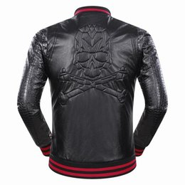 Barato Casacos Longos De Tendência-Nova moto high-end # 06030 Marcelo Burlon Men's Fashion Skulls Coats Jacket Trend Moda masculina de manga comprida Faux Leather Outerwear