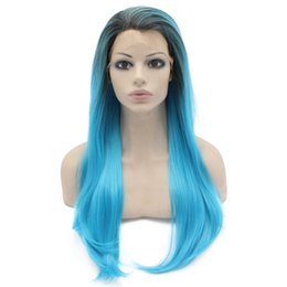 "$enCountryForm.capitalKeyWord NZ - 24"" Long Dark Root Ombre Blue Two Tone Silky Straight Half Hand Tied Heat Resistant Synthetic Fiber Lace Front Fashion Wig S02"