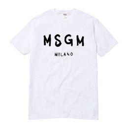 Gros-Haute Qualité Hommes / Femmes MSGM T Shirt Été Couple Marque Lettre Imprimé Tops Tee Coton Décontracté À Manches Courtes O-cou T-shirt