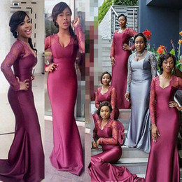 Discount nigeria bridesmaid dress lace - Sheer Long Sleeves Bridesmaid Dresses Mermaid V Neck Purple Appliques African Nigeria Girls Wedding Guest Maid of Honor