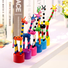$enCountryForm.capitalKeyWord Canada - Colorful Kids Wooden Rock Giraffe Push Up Toys Standing Dancing Hand Doll Tall Animal Finger Toy NC031