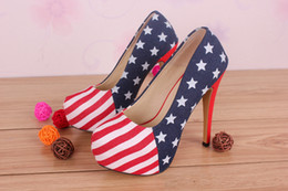 2f8e246d4abe 14cm Waterproof High Heeled Shoes America Flag Women Pumps Fashion Prom  Evening Shoes Nigh club Party Super High Heels Wholesale