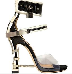 $enCountryForm.capitalKeyWord NZ - Hot Fashion Brand Design Padlock Sandals Metal Decor Leather Women High Heels Party Dress Shoes Summer PVC Gladiator Sandals Big Size