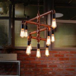 Water Pipe Art NZ - Loft Vintage Edison Pendant Lights Personalized Bar Lighting Industrial Vintage Water Pipe Pendant Lamp E27 Bulb Iron Rust Lamps 9 Heads
