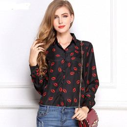 Lips Blouse Black Canada - CD29 White Black Long Sleeve Women's Blouses&Shirts Kiss Red Lip Print Casual Tops Loose Plus Size Lady Button Leopard Blusas