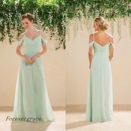 Green Wedding Guest Dresses Canada - 2017 Simple Cheap Long Backless Mint Green Bridesmaid Dress Chiffon V Neck Maid of Honor Dress Wedding Guest Gown Custom Made Plus Size