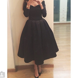 winter high tea fashion Canada - High Fashion Black Satin Prom Dress Off the Shoulder Long Sleeve Gowns Tea Length Short Prom Party Dress 2018