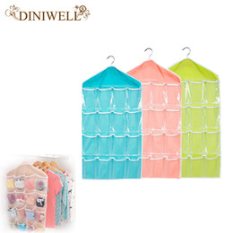 Wholesale  DINIWELL Clear 16 Pockets Socks Shoe Toy Underwear Slippers  Jewelry Sorting Storage Bag Door Wall Hanging Closet Organizer