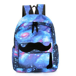 galaxy backpacks 2019 - Wholesale- 2017 Girls Boys Canvas Backpack Moustache Galaxy School Backpacks Pattern Rucksack Travel Bags School Bookbag