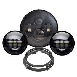 Phare noir à DEL Harley de 7 po avec feux anti-brouillard passants noirs de 4,5 pouces assortis + support noir pour motos Harley Davidson