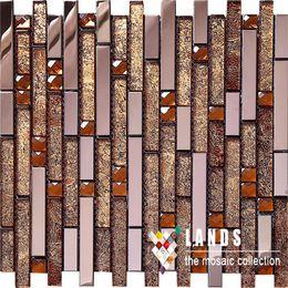 Golds Linear Glass Diamond Stainless Steel 3D Mosaic Wall Tile,Modern Metal  Pattern Mix Glass Wall Kitchen Backsplash Tiles,SA047 15 Inexpensive  Kitchen ...