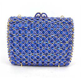Blue Crystal Clutch Bag UK - Women Wedding Clutches Bag blue Flower Crystal  Evening Bags Party 67dede63bad0