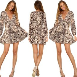 Barato Cocktail Leopardo Vestido De Festa-Women's Leopard Microfiber Club Vestidos plissados ​​Sexy Deep V-neck Long Sleeve Sashes Midi Party Cocktail Bandage Dress