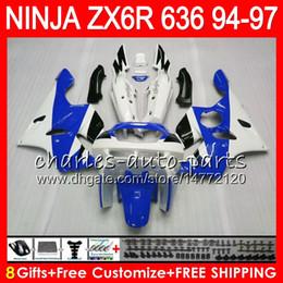 $enCountryForm.capitalKeyWord Australia - 8Gifts 23Colors For KAWASAKI NINJA ZX6R 94 95 96 97 600CC ZX-6R 33NO77 ZX636 ZX 636 ZX 6R ZX600 white blue 1994 1995 1996 1997 Fairing kit