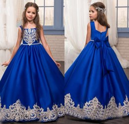 flowers applique for wedding dress 2019 - 2017 Royal Blue Flower Girls Dresses for Weddings with Gold Lace Appliques Little Girls Pageant Gowns First Communion Dr